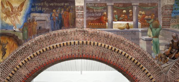 Piet Gerrits, De parabel van Lazarus en de rijke vrek. Cyclus in de Gerardus Majellakerk in Tilburg. Foto RCE Beeldbank-Sjaan van der Jagt/Pixelpolder (2011).