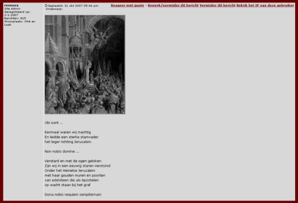 Ubi sunt | screenshot van het forum voor de Cuyperscode.nl. Collage en tekst, bvhh.nu (2007)