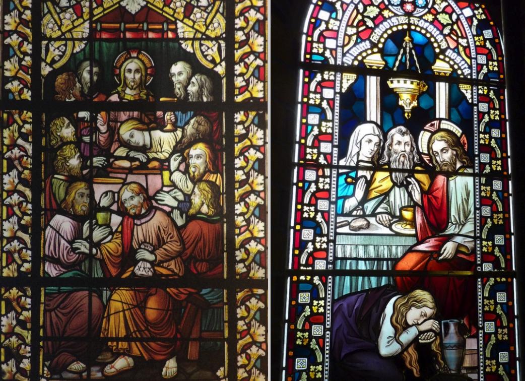 Glazen lucida Laurentiuskerk Ginneken en nieuwe Bavo (collage bvhh.nu 2016).