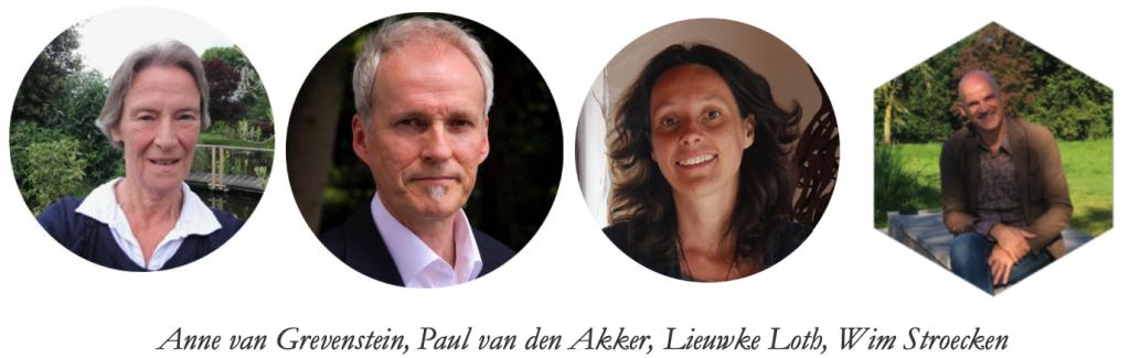 De sprekers en de gastheer van Kunstweekend F.C. Dondersstraat 29 Utrecht. Collage bvhh.nu 2019