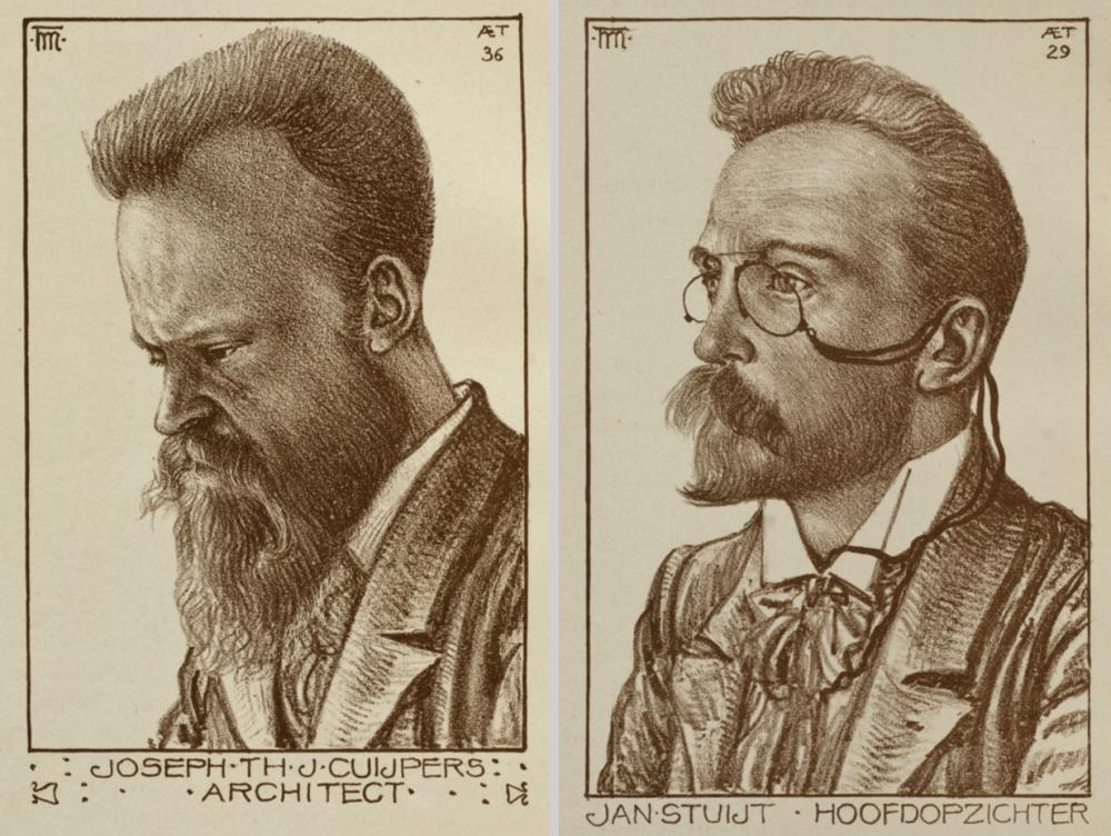 Joseph Cuypers en Jan Stuyt, getekend door Theo Molkenboer (1898)